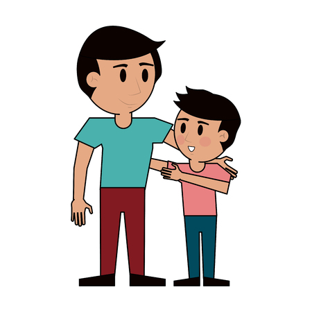 Young man with kid icon vector illustration graphic design