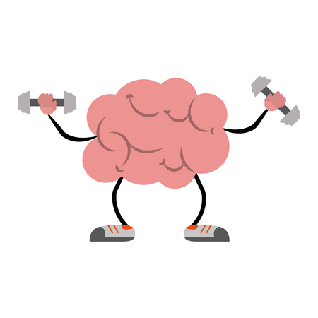 Brain with dumbbells cartoon icon vector illustration graphic design