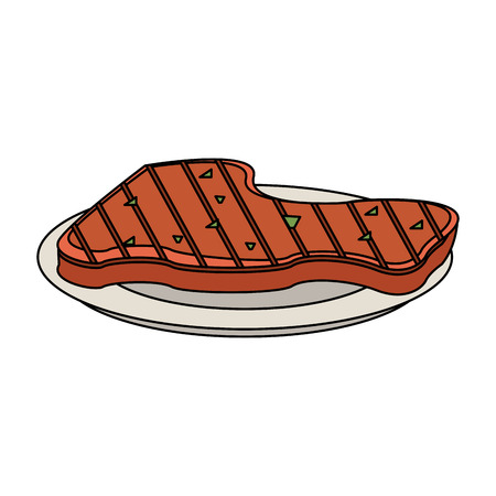 Meat on dish icon vector illustration graphic design 일러스트