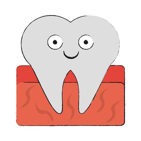 Tooth dental symbol cartoon smiling vector illustration graphic design Stock Illustratie