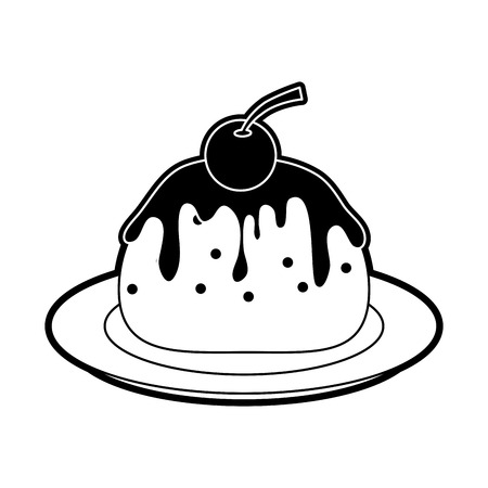 Cherry cake sweet dessert icon vector illustration graphic design