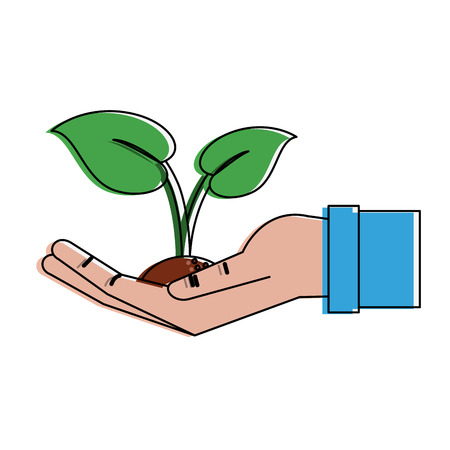 Hand with plant icon vector illustration graphic design Illustration
