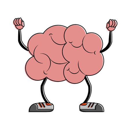Brain with dumbbells cartoon icon vector illustration graphic design