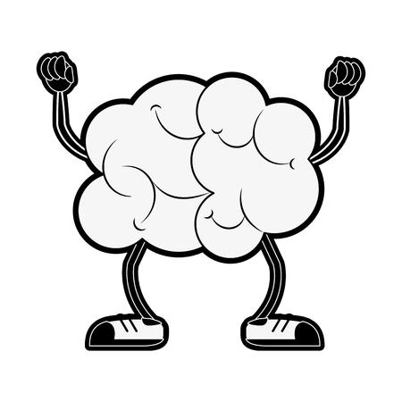 Cérebro engraçado dos desenhos animados desenho animado ícone vector ilustração design gráfico Foto de archivo - 92441638