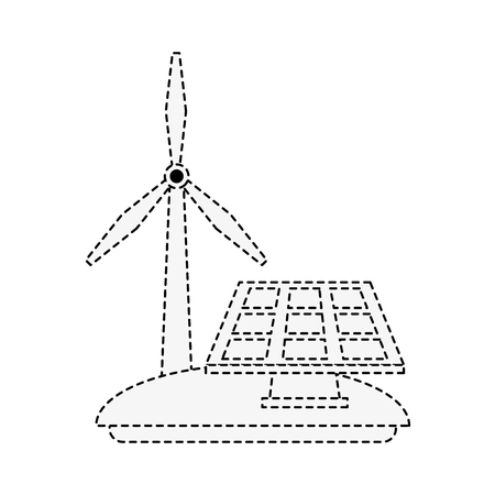 Solar panel and windmill energy icon vector illustration graphic design