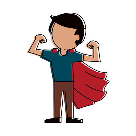 Superhero young man cartoon icon vector illustration graphic design Illustration