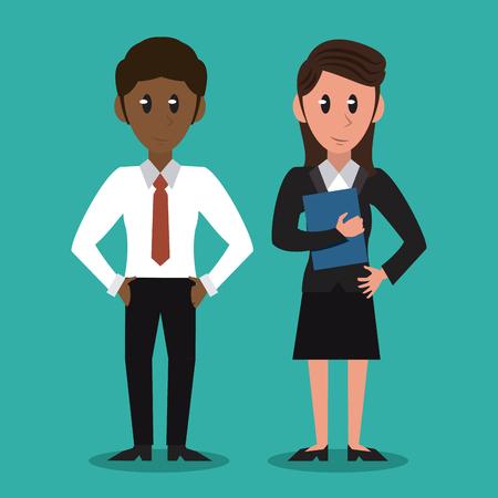 Business partners cartoon vector illustration graphic design Vectores