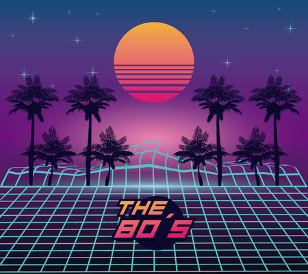 The 80s landscape style vector illustration  graphic  design