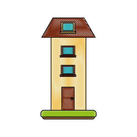 Two floors house Young man cartoon icon illustration graphic design.