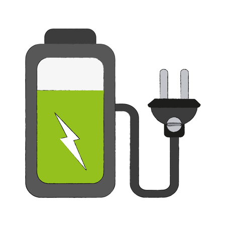 Battery with plug icon vector illustration graphic design.