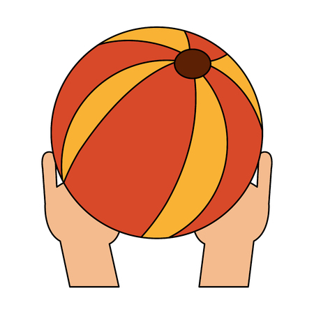 Hand holding beach ball icon. Vector illustration graphic design. Vectores