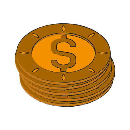 Coins money isolated icon. Vector illustration graphic design.