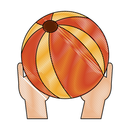 Hands holding beach ball icon vector illustration graphic design Vectores