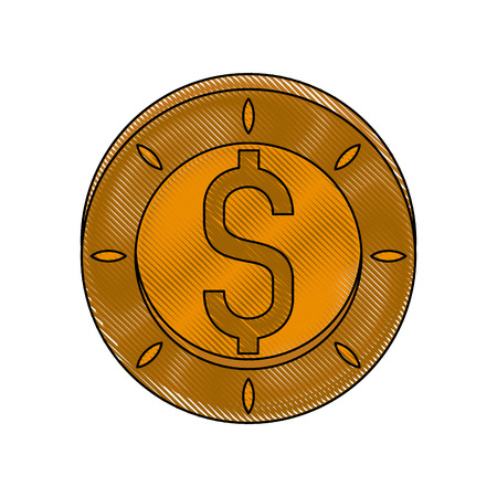 Coin money isolated icon vector illustration graphic design Иллюстрация