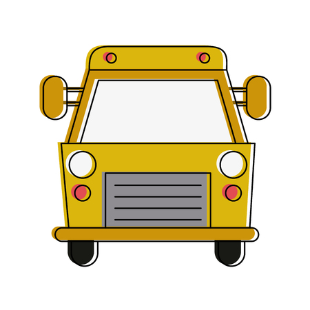 School bus frontview icon vector illustration graphic design Illustration