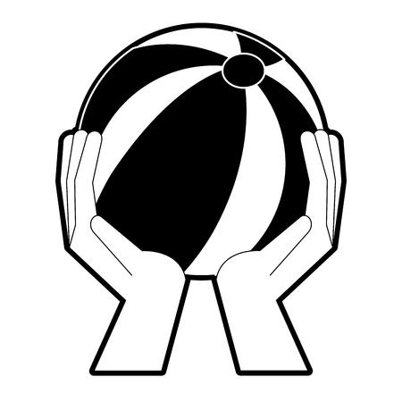 Hands holding beach ball icon vector illustration graphic design Illustration