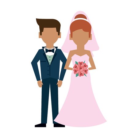 Husband and bride cartoon icon vector illustration graphic design Illustration