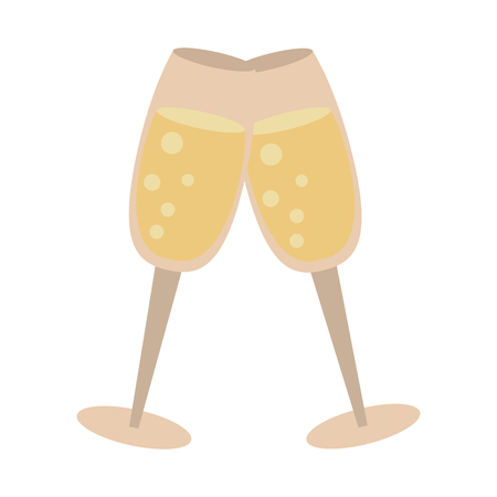 Champagne toasts cups icon. Vector illustration graphic design. Illustration