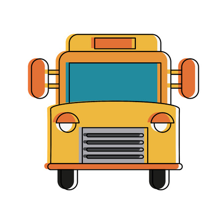 School bus frontview icon vector illustration graphic design Vettoriali