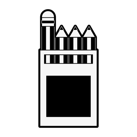Pencils colors box icon vector illustration graphic design