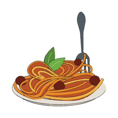 Spaghetti food restaurant icon. Vector illustration graphic design.