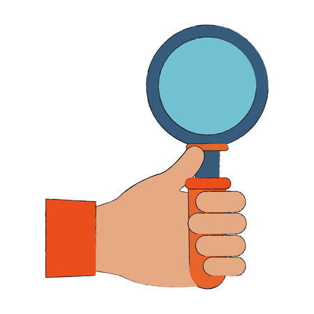 Hand holding magnifying glass icon. Vector illustration graphic design.
