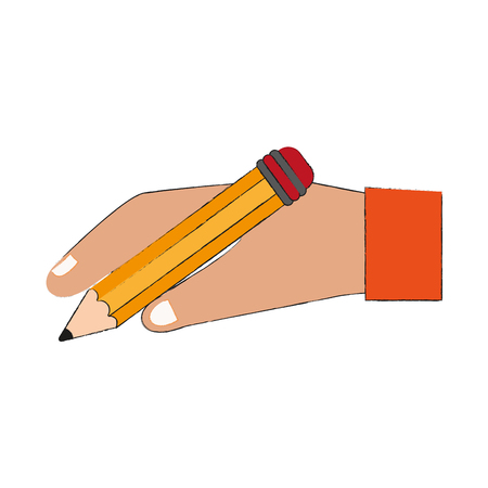 Hand holding pencil icon. Vector illustration graphic design.