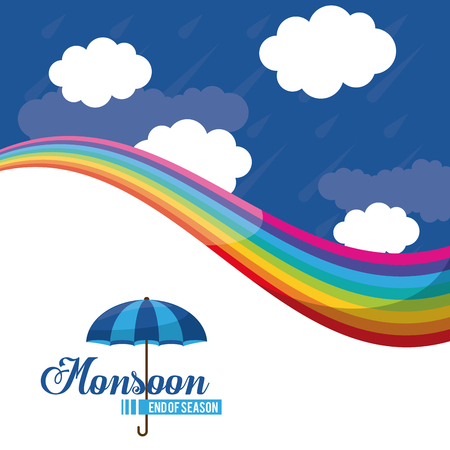 Monsoon end of season icon. Vector illustration graphic design.