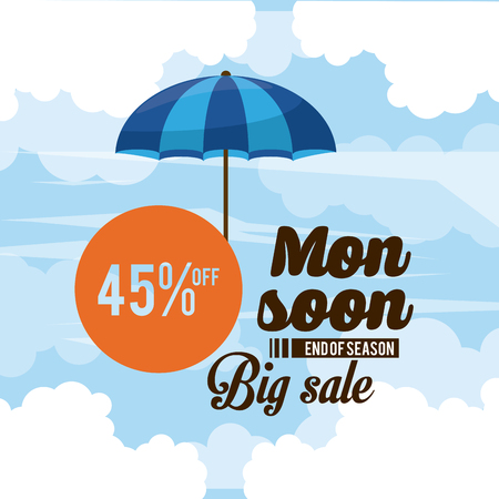Monsoon big sales and discounts icon vector illustration graphic design Ilustração