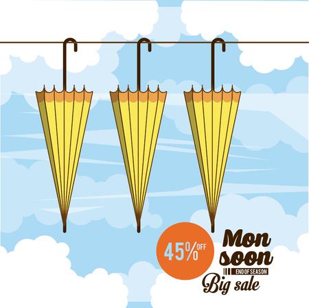 Monsoon big sales and discounts icon vector illustration graphic design Illustration