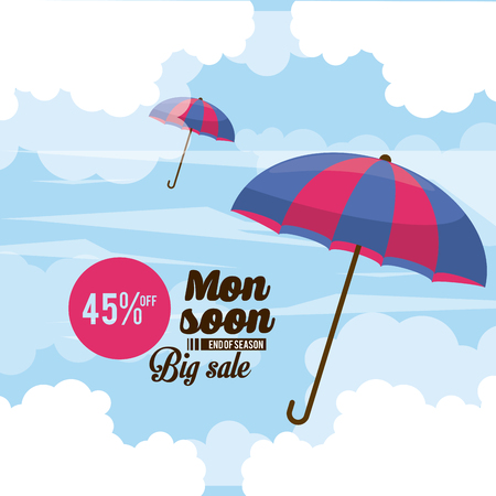 Monsoon big sales and discounts icon vector illustration graphic design Çizim