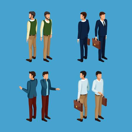 Businessmen 3d icons icon. Vector illustration graphic design.