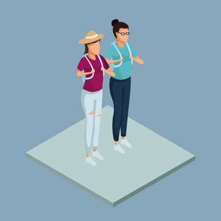 Womens friends 3d icon. Vector illustration graphic design.