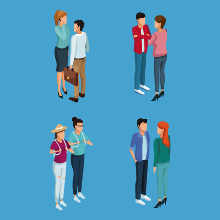 Young people 3d icon. Vector illustration graphic design.
