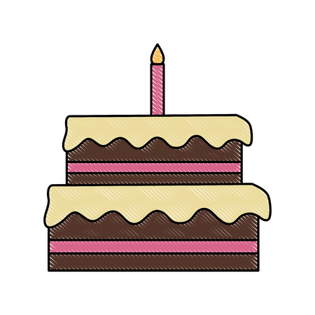 Big birthday cake icon vector illustration graphic design Çizim