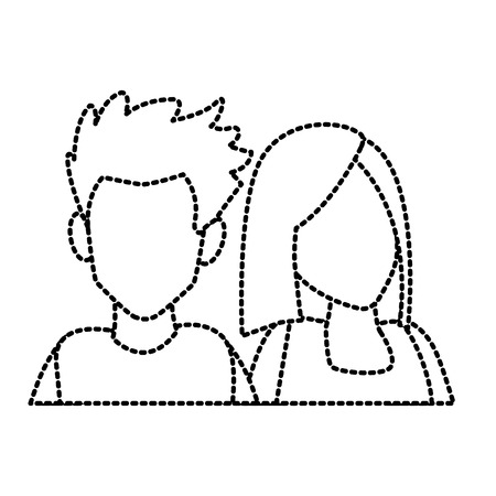 Couple of friends cartoon icon vector illustration graphic design