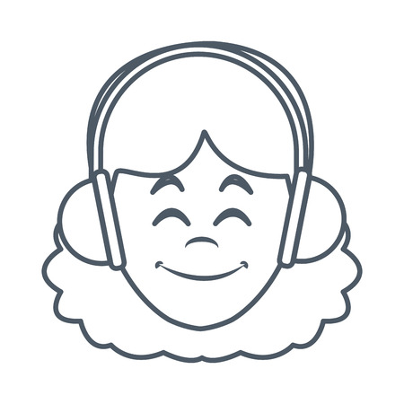 Woman with music headphones icon vector illustration graphic design
