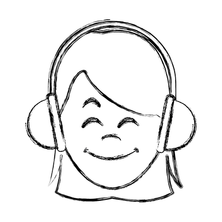 Woman with music headphones icon. Vector illustration graphic design. Vectores