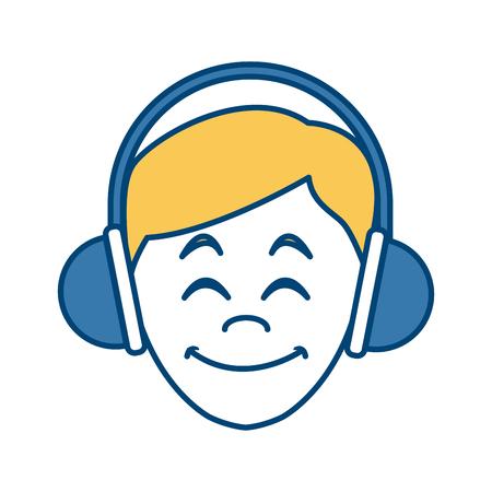 Man with music headphones icon. Vector illustration graphic design.