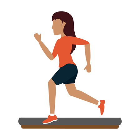 Woman running cartoon icon vector illustration graphic design