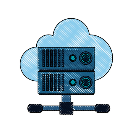 Cloud and servers technologies icon vector illustration graphic design