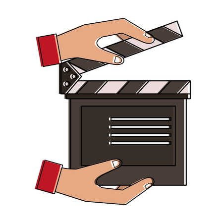 Hands with clapboard icon vector illustration graphic design