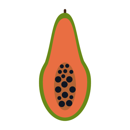 Papaya half cut icon vector illustration graphic design Illustration
