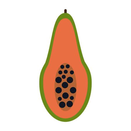 Papaya half cut icon vector illustration graphic design Illustration