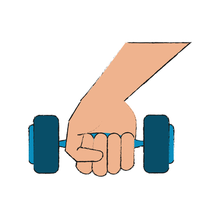 Hand with dumbbell icon vector illustration graphic design