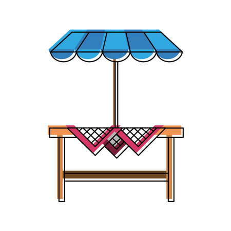 Wooden table patio umbrella icon  illustration graphic design