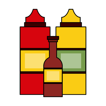 Sauces bottles isolated icon vector illustration graphic design Illustration