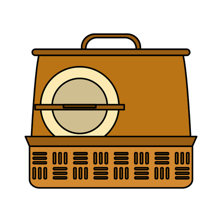 Picnic basket with dish icon vector illustration graphic design