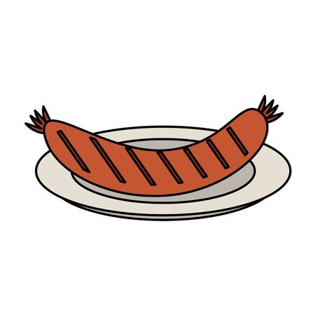 Sausage on dish icon vector illustration graphic design Illustration
