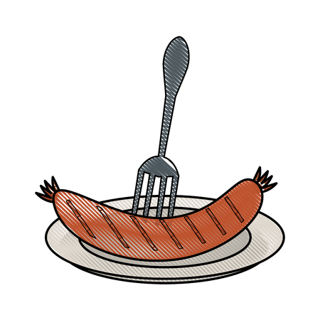 Sausage on a plate illustration. Illustration